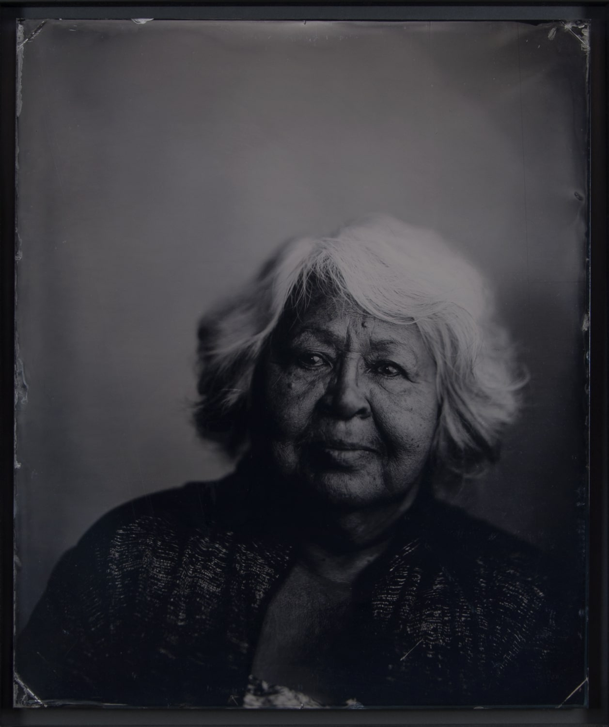 "Paul Adams, Sally, One of the Last Native Speakers of Alutiiq"", Wet plate collodion tintype, 2017, Lindon"